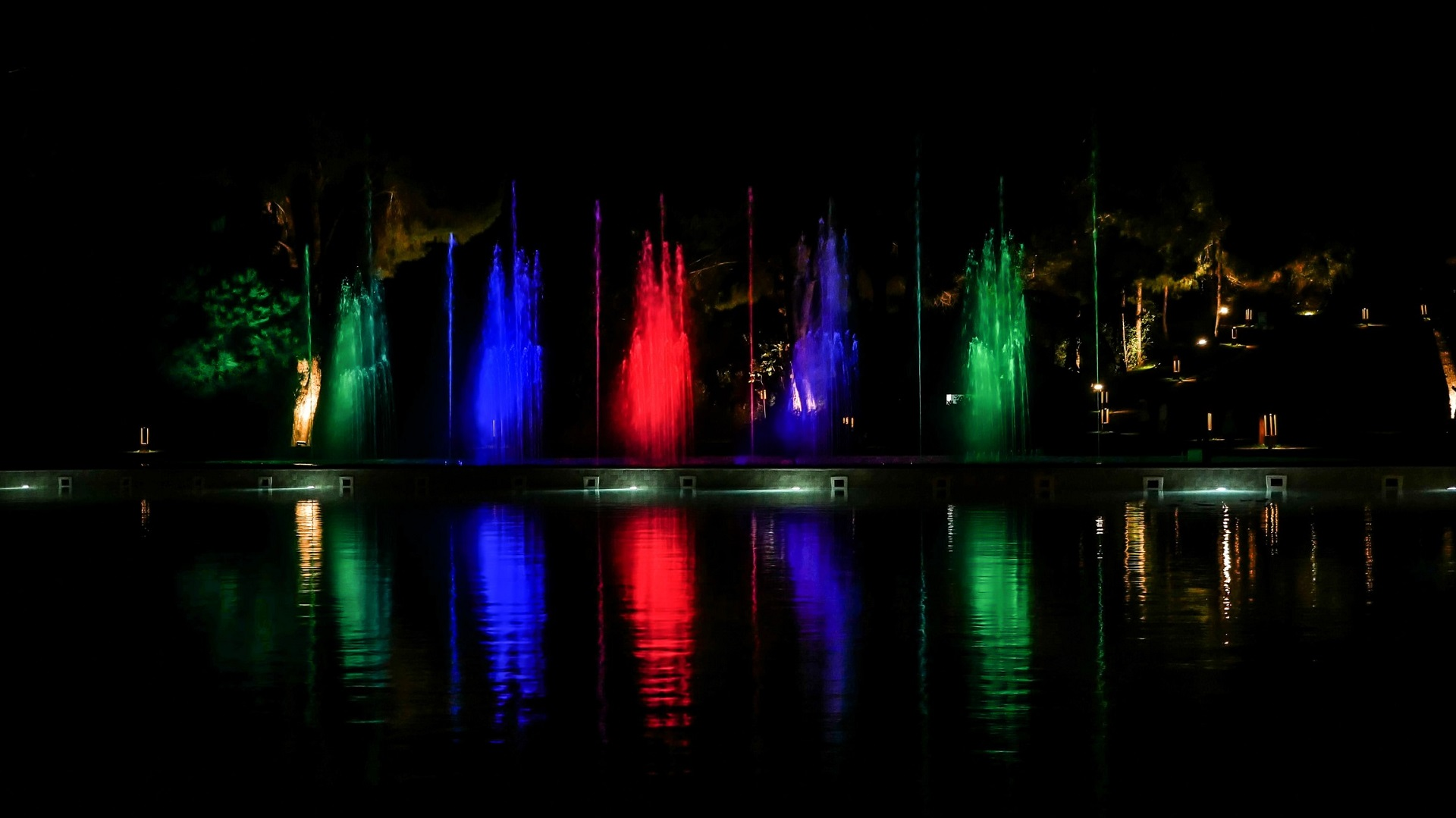 Fountain At Night with Liights